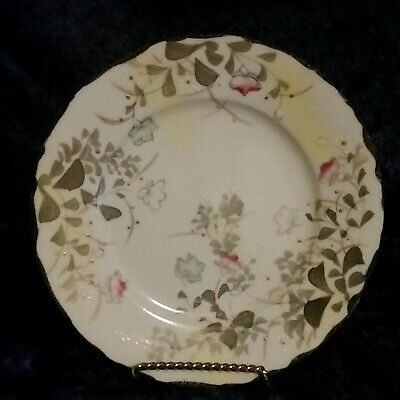Vintage Hand Painted China Plates, Set Of Four, Gold, Pink, Green, White
