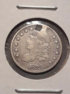 1834 Capped Bust Half Dime XF holed