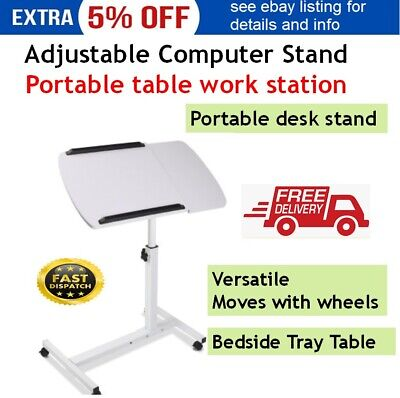 Rotating Adjustable Laptop Desk Mobile Computer Stand Table Over Bed Portable