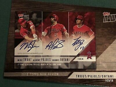 2019 Topps Series 1 2018 Topps Now Review #TN-9 Trout/Pujols/Ohtani