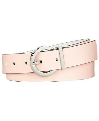 New Womens Calvin Klein Jeans Round Buckle Pink White Reversible Leather Belt L