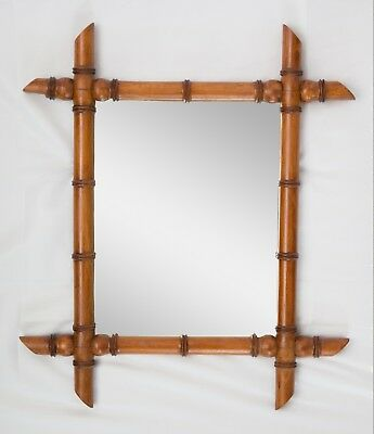 Antique 19th Century French Faux Bamboo Carved Wall Mirror