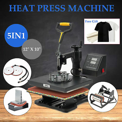"""5 in 1 Heat Press Machine for T-Shirts 12"""" x 10"""" Kit Sublimation Swing Away"""