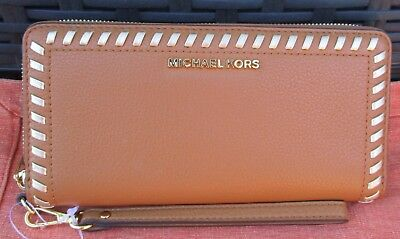 b9d541418cb6b5 Michael Kors NWT $178 Acorn Leather Lauryn Gold Trim Continental Wallet  Wristlet