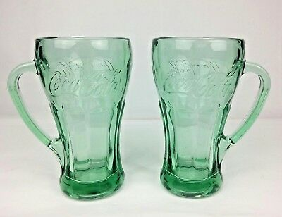 Two (2) Coca Cola Green Glass Mugs With Handle Thick Heavy Mug by Libbey