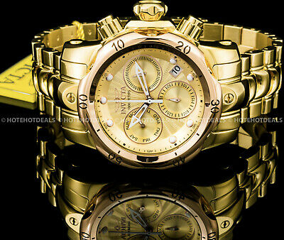 Invicta 46mm Mens VENOM Swiss Chronograph Gold n Rose-Gold Plated 1000MT Watch !