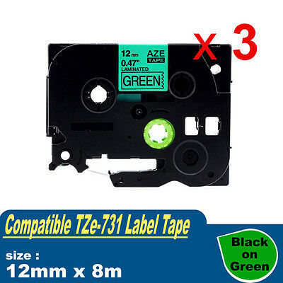 3x Compatible Brother TZ-731 P-Touch Laminated Black on Green Tape TZe-731 12mm
