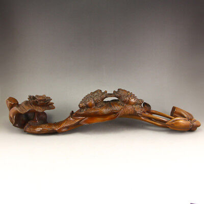 Vintage Chinese Boxwood Wood Statue - Lotus Flower & Fortune Toads
