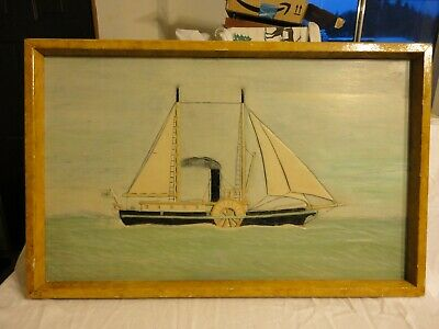 Antique Wood Carved Ship Picture S.S. Beaver Hudson Bay Co. Pacifc N.W. (1835)
