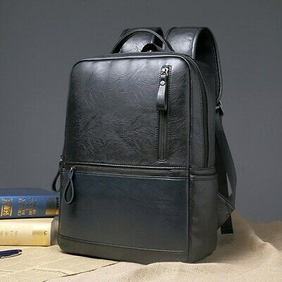 AU Men's School Backpack PU Leather Handbag Rucksack Laptop Travel Shoulder Bag