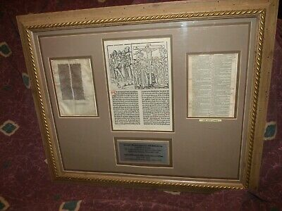 1488 Incunable woodblock & ca 1250 Illuminated Bible +1635 KJV leaf display