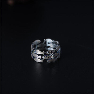 New 925 Sterling Silver Many Fish Wide Rings Men Women Jewelry