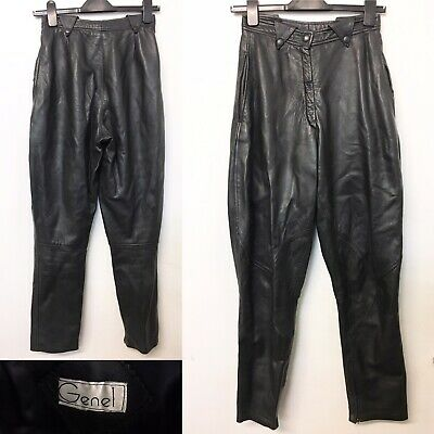 Vintage Genel Black Leather Trousers 1980s 80s Butter Soft Zip Ankle W25 L29