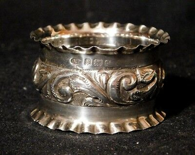 "Antique Sterling Silver Napkin Ring Repousse w Pie Crust Edges 1 7/8"" Dia 17.7 G"