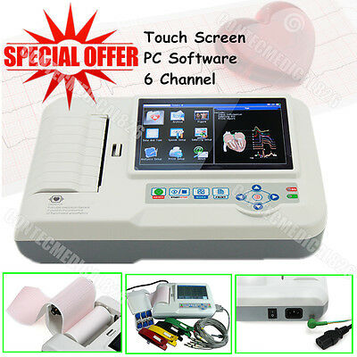 CE ECG600G EKG Machine ECG Electrocardiograph 6 Channel Touch 12 Lead+PrinteR+SW