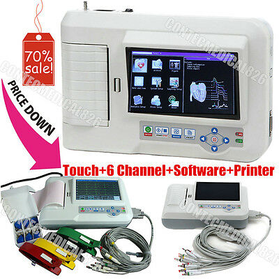 CE Touch AUTO ECG Machine 6 Channel EKG System Electrocardiograph+USB+PRinter+SW