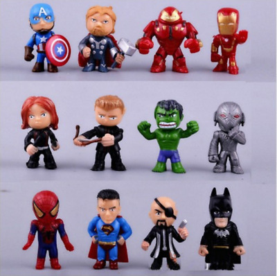 12pc/Set Marvel Avengers DC Comics Figures Cake Toppers Hulk Kids Toy Gift