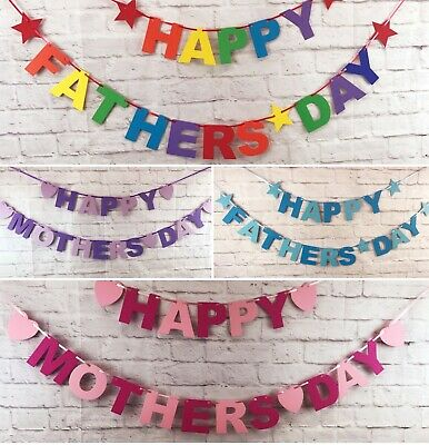 Happy Mothers Day Fathers Day Banner Bunting Party decorations Huge selection