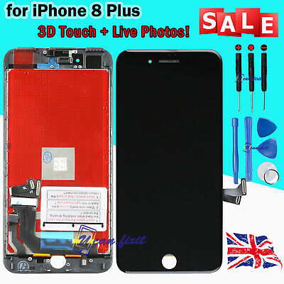For iPhone 8 Plus LCD Digitizer Screen Replacement Black Genuine IC 3D Touch UK
