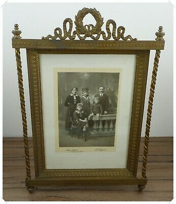 Large Huge Antique French Empire Photo Frame Bronze & Brass