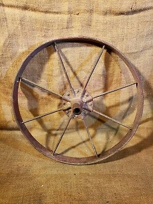 "Antique 15.5"" Cast Iron Wheelbarrow Wheel Old Vintage Farm Tool Primitive Decor"