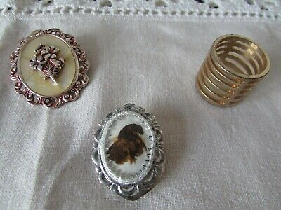 Job Lot of  Vintage Scarf Clips 3 Retro Look Flower Spiral and Two Dashound's