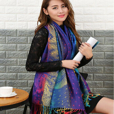 Tassels Peacock Feather Jacquard Warm Winter Long Large Soft Scarf Shawl Wrap B