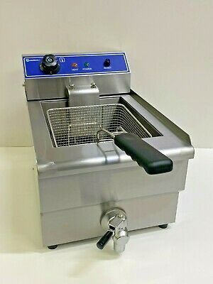 Commercial Chip Fryer 10 Litre Electric Chips Table Top With Tap & Safety Stat