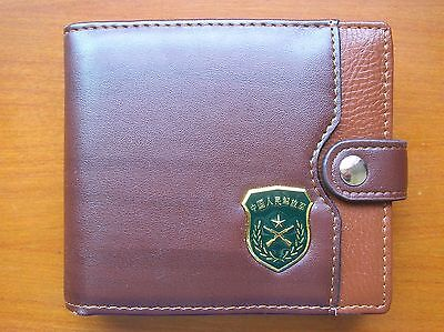 07's series China PLA Army Badge Officer Genuine Leather Wallet,A
