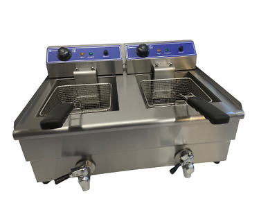 Commercial Chip Fryer 10 Litre Twin Table Top Electric With Tap Safety Stat