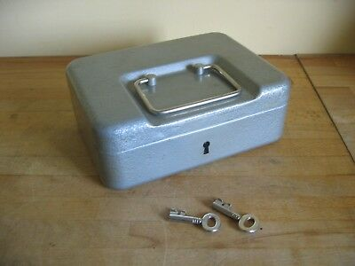 J H Veteran Series Grey Metal Cash Box with Inside Lift Out Tray and Two Keys
