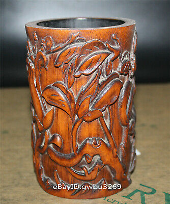 Asian Old Chinese Bamboo Pen holder  Hand Carved Flowers  Brush Pot