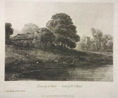 Drawn by C Barber RARE Original Antique Soft-ground Etching 'Banks of Severn'