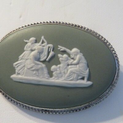 Large oval green  jasper wedgwood brooch with 2 goddesses and seated zeus