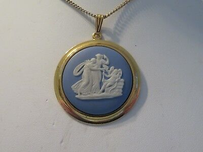 Large Blue jasper wedgwood Necklace with chain
