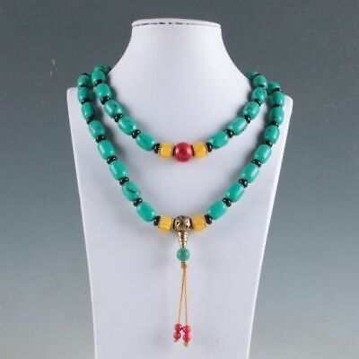 Rare Natural Turquoise & Beeswax Handwork Decoration Necklaces