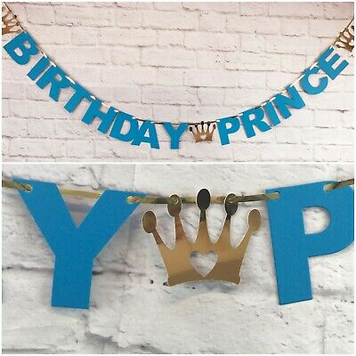 HAPPY BIRTHDAY PRINCE BANNER SON Disney party decoration BOY BLUE 1st BUNTING