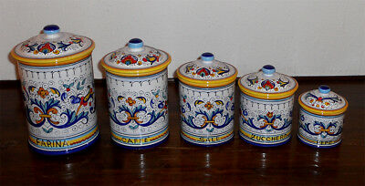 Deruta Italian  Pottery- Ricco Pattern Canisters Set