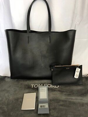 TOM FORD Perforated Logo Leather Calfskin Large Tote Bag NEW Black  1590 43ab10b788319