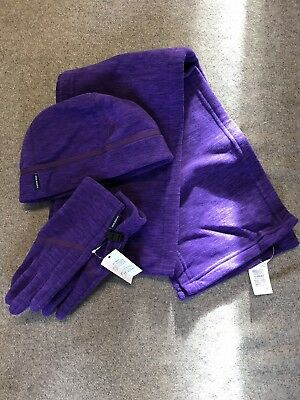 bnwt lands end hat gloves and scarf set purple
