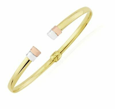 9ct 375 Rose, Yellow, White Gold Contemporary Torque Bangle Bracelet Hinged 3.8g