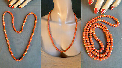 3C&& 珊瑚 antique natural coral necklace Korallenkette Koralle Collier Kette