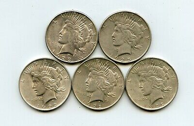 Lot of 5 Peace Silver Dollars (1922, 1922, 1922, 1923, 1925-S)