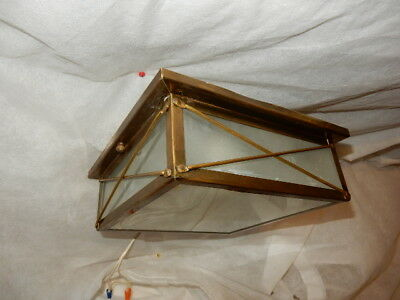 Brass Arts & Crafts Porch Light Fixture with Frosted Glass