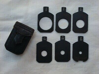 Set of Six Antique Camera Waterhouse Stops in Leather Case 15/16 Inch