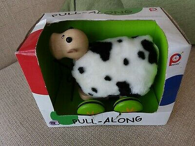 John Crane Pintoy Pull Along Wooden Cow New In Box
