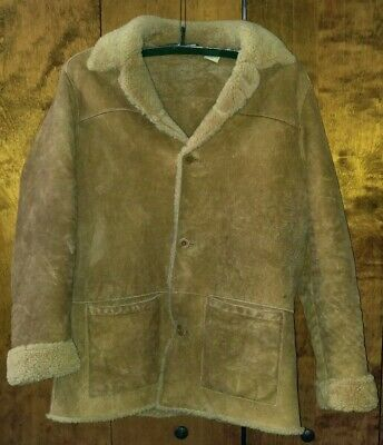 Mens Timberland Leather Sherpa Jacket Size: L Color: Brown
