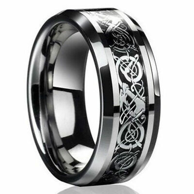 Dragon Rings Silver Wedding Celtic Titanium Men's Stainless Fashion Steel Band