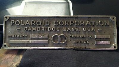Cast Polaroid Corporation Plaque: Contract, Drawing Number, Serial Number 1