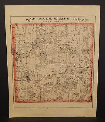 Wisconsin Walworth County Map  & Engravings 1873 Double Side  W20#51
